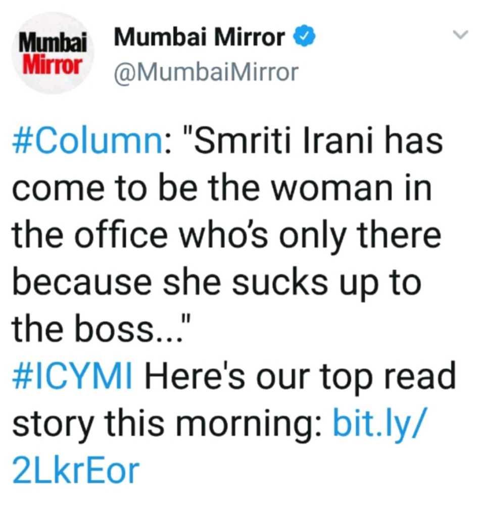 mumbai mirror, smriti irani